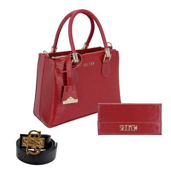 Bolsa Lorena + Carteira + Cinto Vermelha