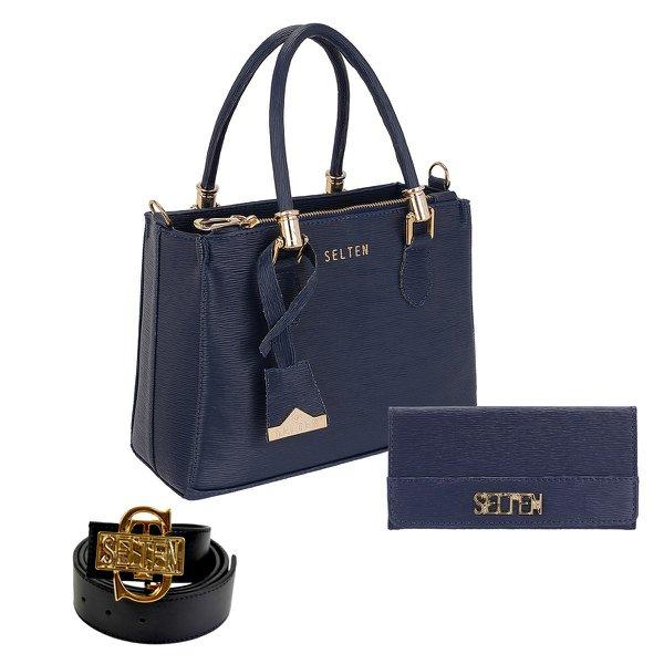 Bolsa Lorena + Carteira + Cinto Azul Escuro