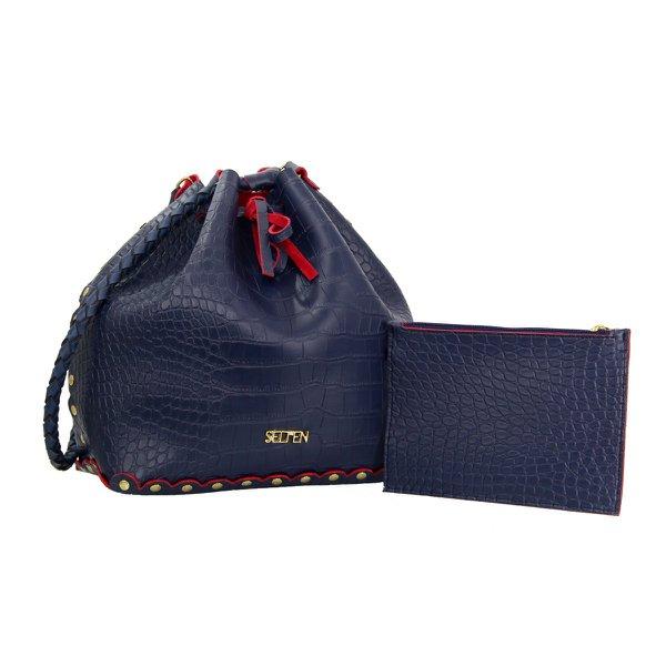 Bolsa Saco Ilhós Com Necessaire Azul Escuro