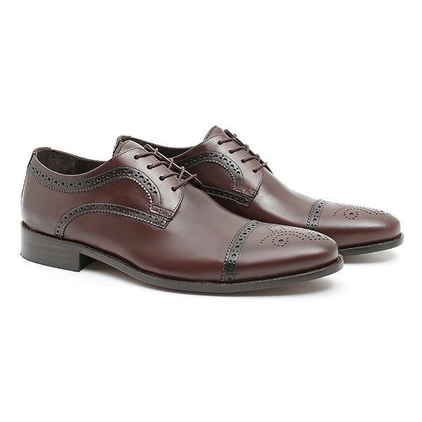 Sapato Masculino Oxford Clássico Marrom em Couro Legítimo