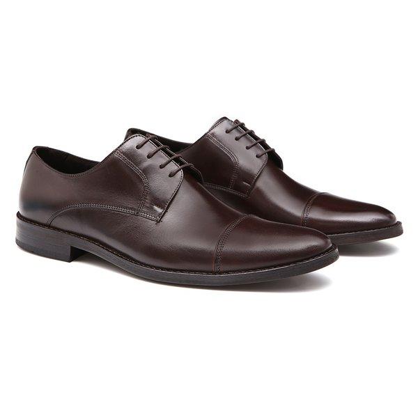 Sapato Masculino Derby Cap Toe Social Nescau em Couro Legítimo