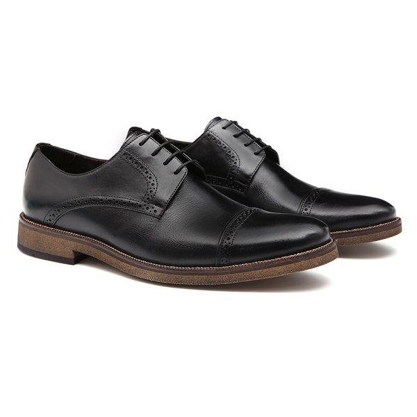 Sapato Masculino Derby Brogue Social Preto em Couro Legítimo