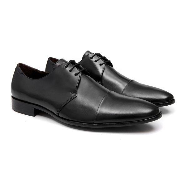 Sapato Masculino Derby Social Preto em Couro Legítimo