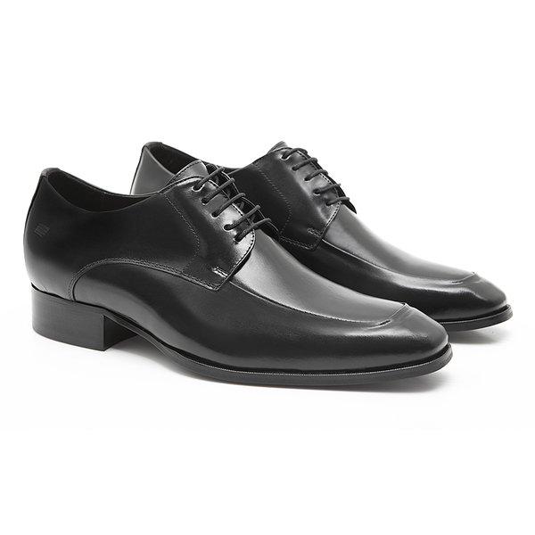 Sapato Masculino Derby Social para Aumento de Estatura Preto em Couro Legítimo