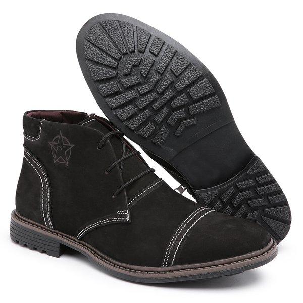 Bota Coturno Masculino Diconfort Calçados C/ Ziper Preto