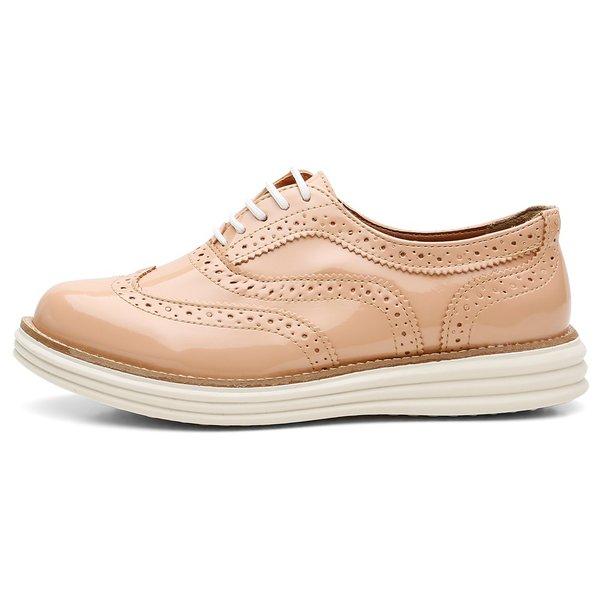 Sapato Social Feminino Top Franca Shoes Oxford Verniz Nude