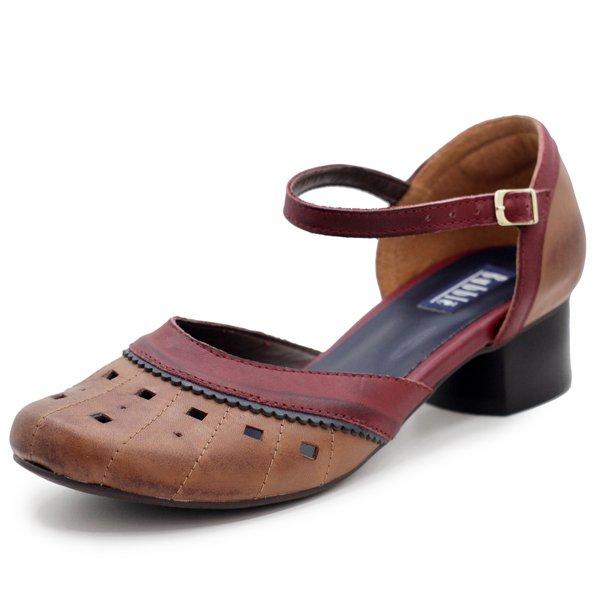 Sapato Boneca Retrô Confortável, Salto Grosso Baixo, Couro Conhaque e Bordô com Laser- 600-02