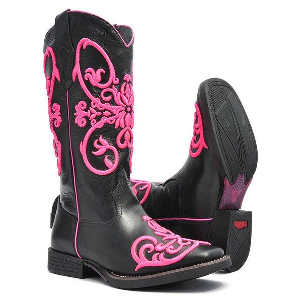 Bota Texana Feminina - Mustang Preto - Roper - Bico Quadrado - Cano Longo - Solado Freedom Flex - Vimar Boots - 13046-A-VR