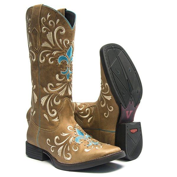 Bota Texana Feminina - Fóssil Caramelo - Roper - Bico Quadrado - Cano Longo - Solado Freedom Flex - Vimar Boots - 13053-A-VR