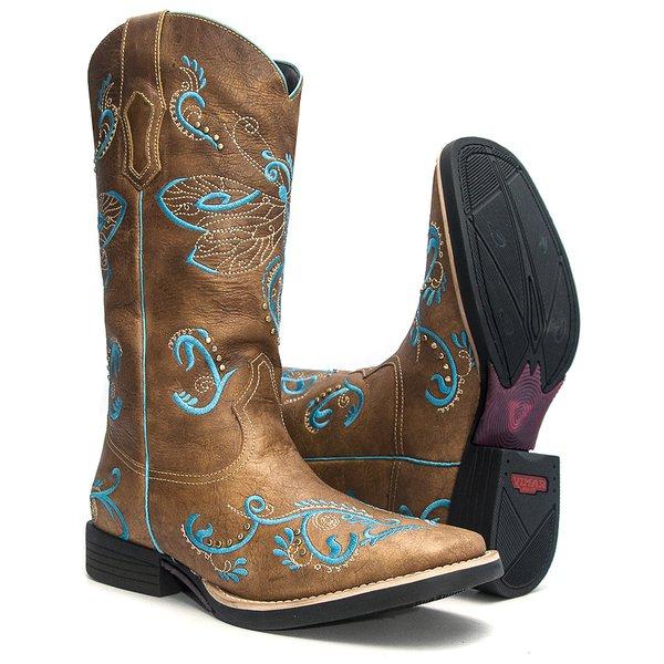 Bota Texana Feminina - Fóssil Caramelo - Roper - Bico Quadrado - Cano Longo - Solado Freedom Flex - Vimar Boots - 13070-A-VR