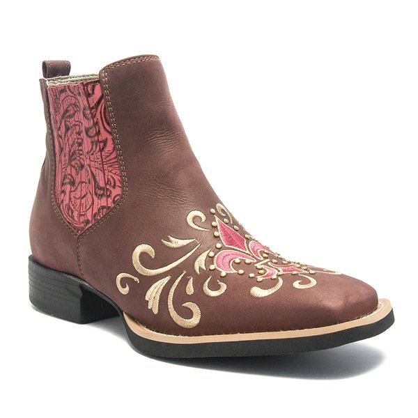 Botina Feminina - Dallas Bordô / Carmim - Roper - Bico Quadrado - Solado VTS - Vimar Boots - 12137-A-VR