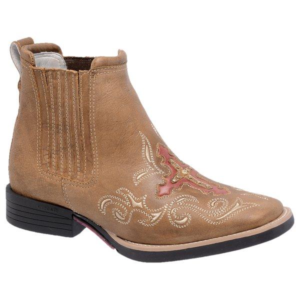 Botina Feminina - Fóssil Caramelo / Carmim - Roper - Bico Quadrado - Solado Freedom Flex - Vimar Boots - 12127-B-VR