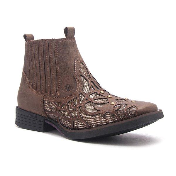 Botina Feminina - Dallas Castor / Bronze - Roper - Bico Quadrado - Solado Freedom Flex - Vimar Boots - 12158-A-VR