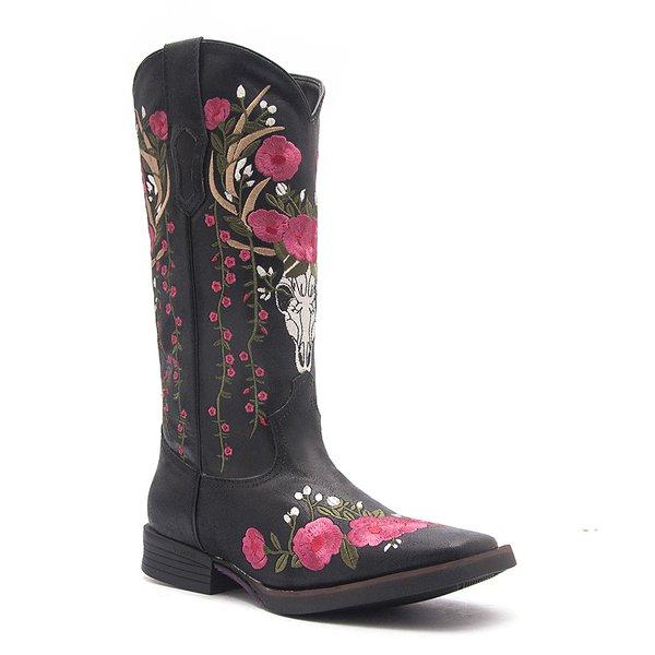Bota Texana Feminina - Rustick Preto - Roper - Bico Quadrado - Cano Longo - Solado Freedom Flex - Vimar Boots - 13098-A-VR