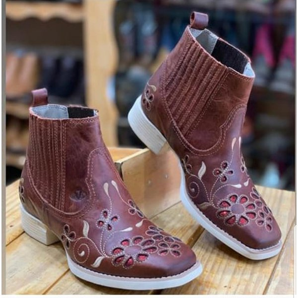 Botina Feminina - Fóssil Sella / Vermelho- Roper - Bico Quadrado - Solado VTS - Vimar Boots - 12152-A-VR
