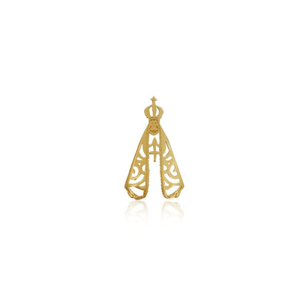 Pingente de Nossa Senhora Aparecida grande em ouro 18k