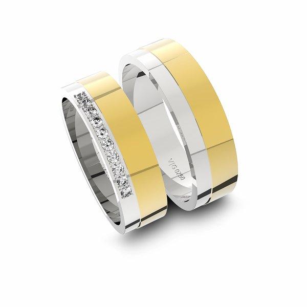 Alianças em Ouro 18K amarelo e Ouro 18K branco com Diamantes (5.70 mm de largura)