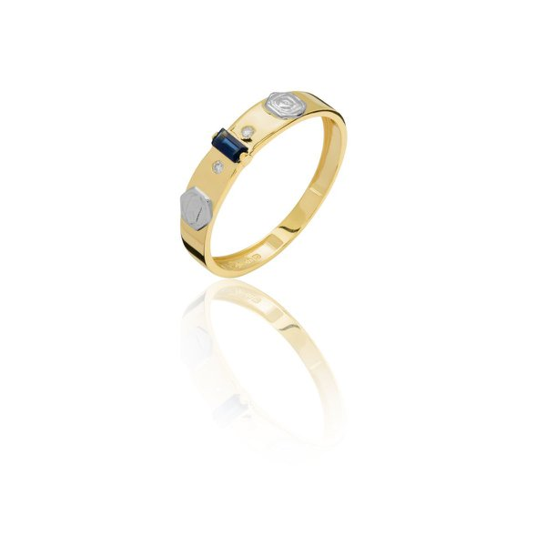 Anel de Formatura em Ouro 18k amarelo com Pedras Sintéticas (Zircônias)