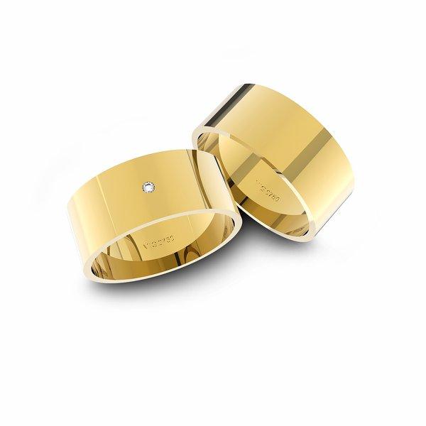 Alianças em Ouro 18k amarelo com Diamante (7.00 mm de largura)