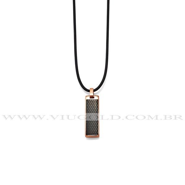 Cordão design italiano de Silicone com Pingente Aço Plated Rose com detalhe Plated Black