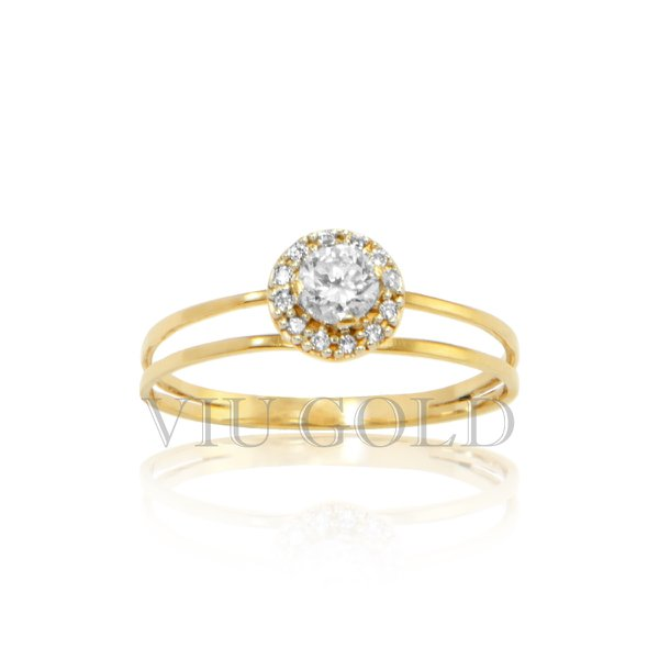 Anel aro duplo em ouro 18k amarelo com Diamantes sintéticos