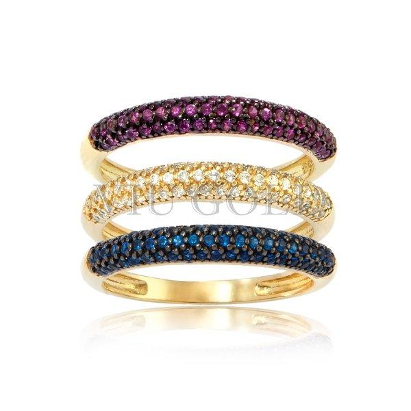 Anel triplo separado em ouro 18k amarelo com Diamante sintético, Rubi sintético e Safira azul sintética
