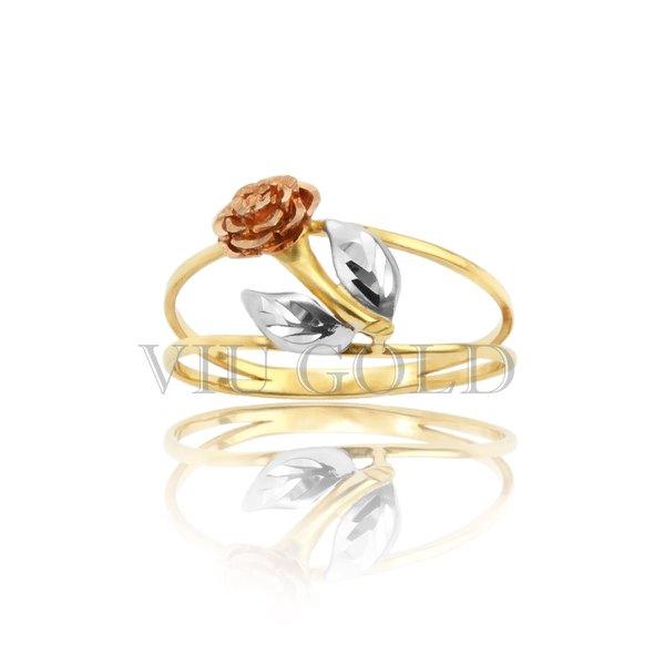 Anel de flor com aro duplo em ouro 18k amarelo, branco, e rose