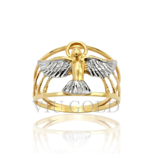 Anel com Espírito Santo em ouro 18k amarelo e branco