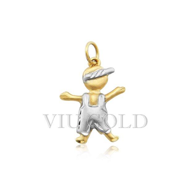 Pingente de menino em ouro 18K amarelo, branco