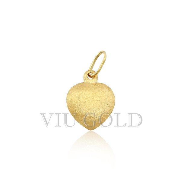 Pingente de coração em ouro 18K amarelo 1/2 fosco e 1/2 polido