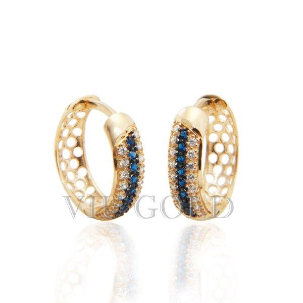 Brinco argola de trava em ouro 18k amarelo com Diamante sintético e Safira azul sintética