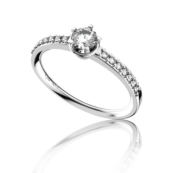 Anel solitário em Ouro 18K Branco com Diamante de 25 Pontos (Veja o vídeo)