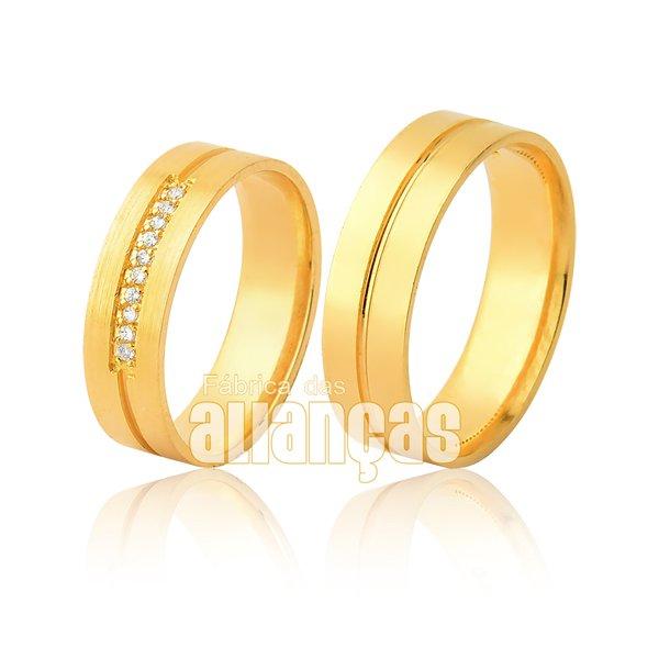 Par Alianças de Ouro 18k com diamantes