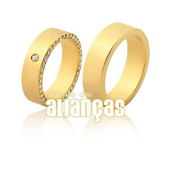 Alianças de Noivado e Casamento em Ouro Amarelo 18k 0,750 FA-1133-Z