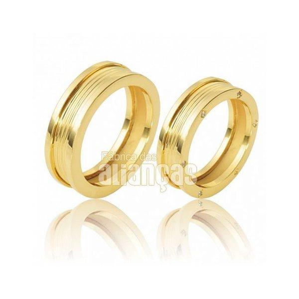 Alianças de Noivado e Casamento em Ouro Amarelo 18k 0,750 - FA-118