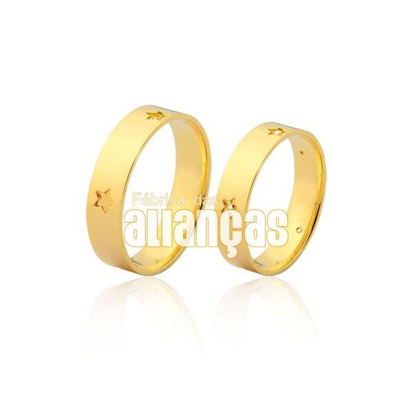 Alianças de Noivado e Casamento em Ouro Amarelo 18k 0,750 FA-967