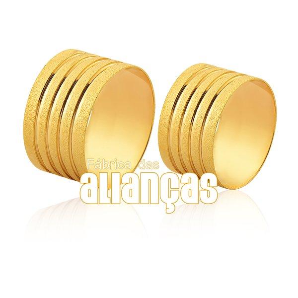 Alianças de Noivado e Casamento em Ouro 18k 0,750 FA-1150