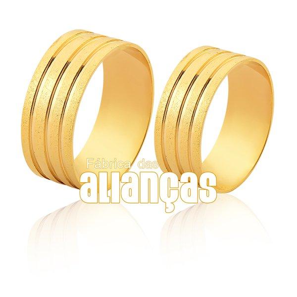 Alianças de Noivado e Casamento em Ouro 18k 0,750 FA-1151
