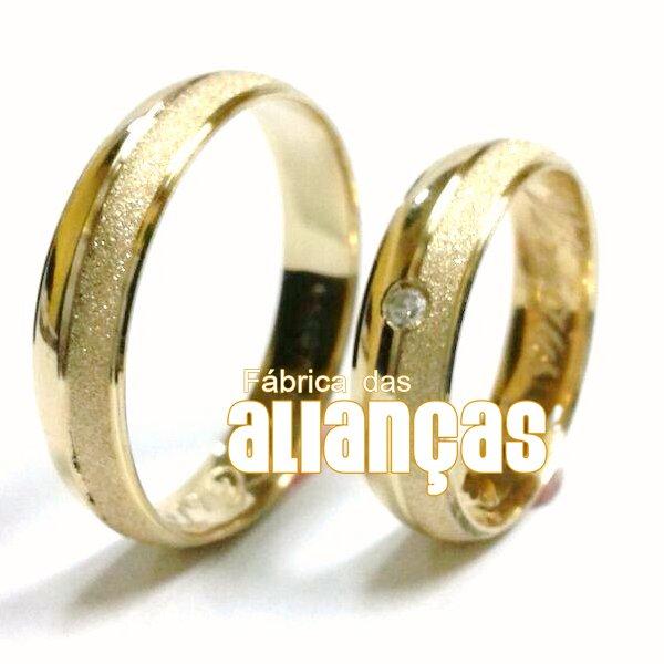 Alianças de Noivado e Casamento em Ouro Amarelo 18k 0,750 FA-388