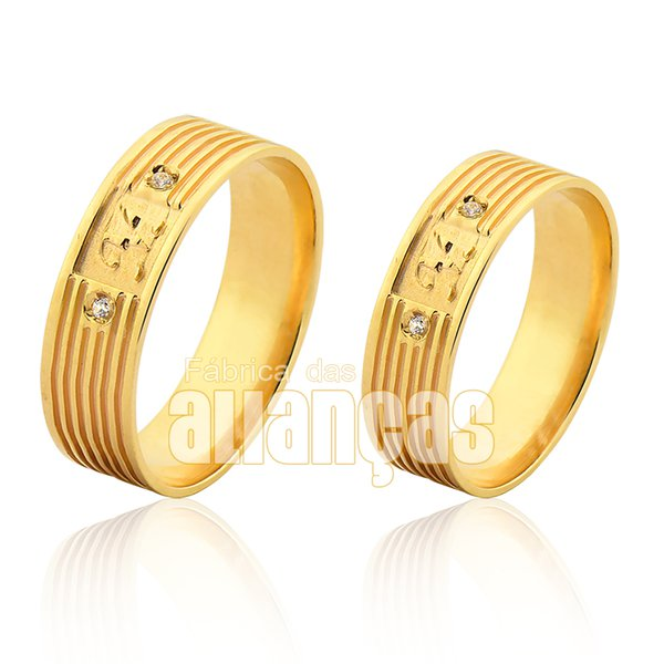 Alianças de Noivado e Casamento em Ouro Amarelo 18k 0,750 FA-1019