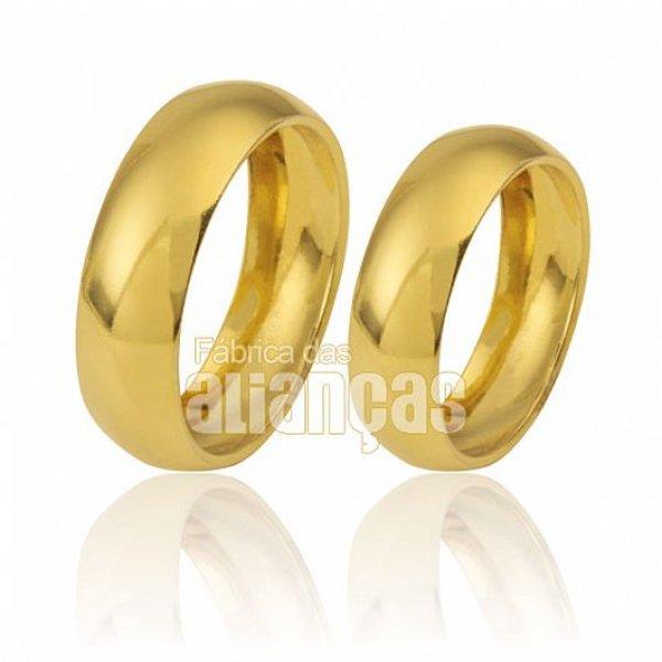 Alianças de Noivado e Casamento tradicionais de ouro 18k em diamema