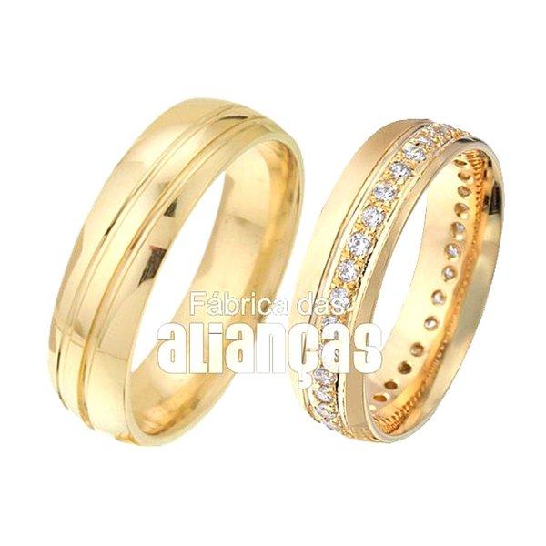 Alianças de Noivado de Ouro 18k com Diamantes