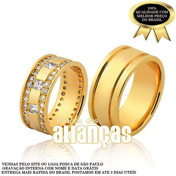 Alianças de Noivado e Casamento em Ouro Amarelo 18k 0,750 FA-1135