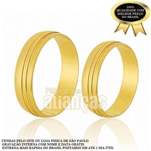 Alianças de Noivado e Casamento em Ouro Amarelo 18k 0,750