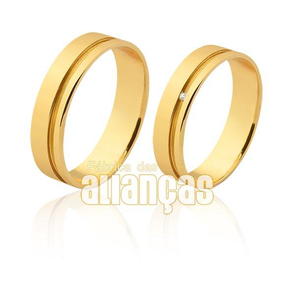 Alianças de Noivado e Casamento em Ouro 18k 0,750 FA-1115
