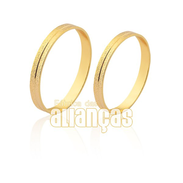 Alianças de Noivado e Casamento em Ouro Amarelo 18k 0,750 FA-1546