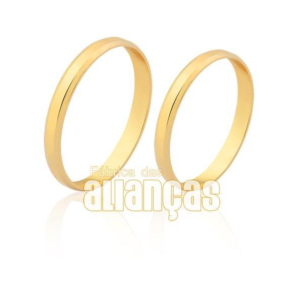 Alianças de Noivado e Casamento em Ouro Amarelo 18k 0,750 FA-1612