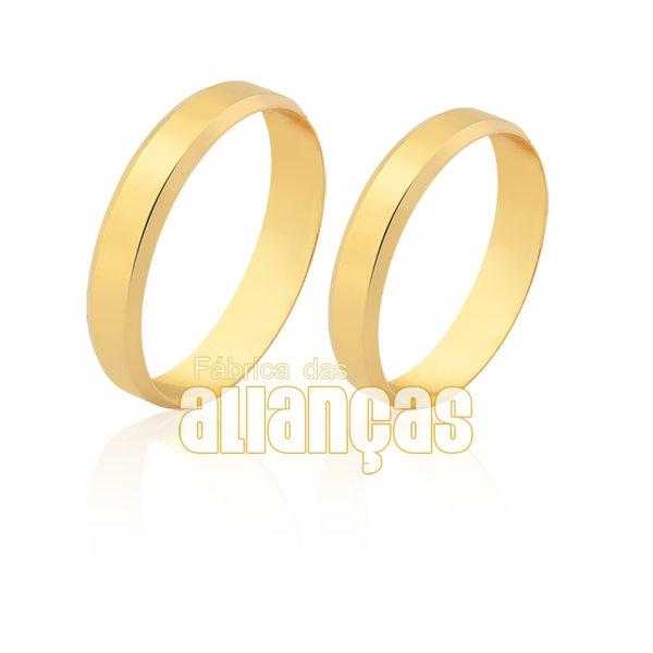 Alianças de Noivado e Casamento em Ouro Amarelo 18k 0,750 FA-1616