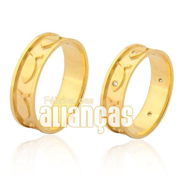 Alianças de Noivado e Casamento em Ouro 18K 0,750 FA-960