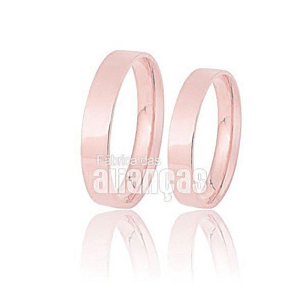 Alianças de Noivado e Casamento em Ouro Rose 18k 0,750 FA-168-R